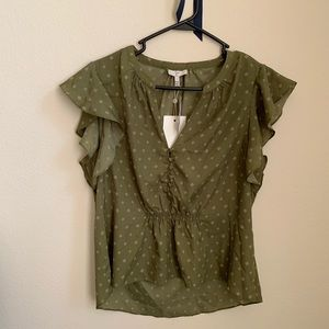 NWT $228 Joie Ruffle Sleeves blouse size S